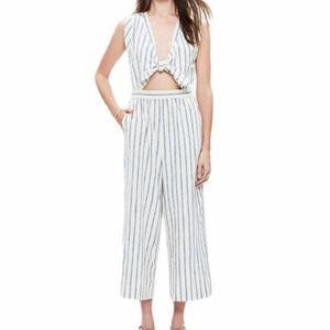 Everly Linen Tie Front Stripe Wide Leg Jumpsuit